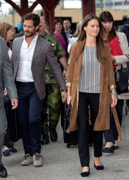 Prince Carl Philip and Princess Sofia of Sweden traveling by train from Stockholm to Karlstad for their two day visit to the region Varmland in Sweden on Aug 27, 2015