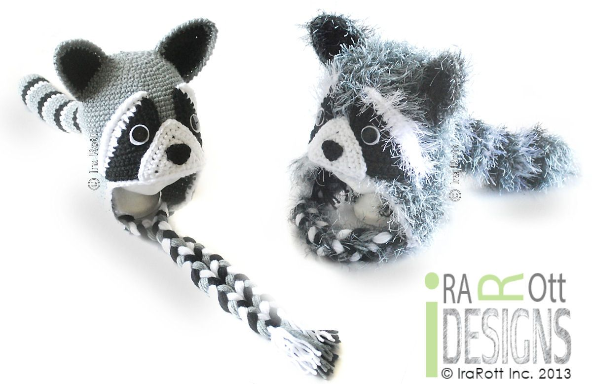 Raccoon Animal Hat Crochet Pattern