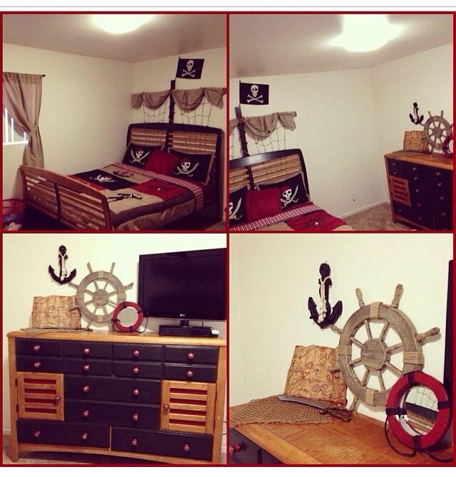 Noahu0027s Pirate Bedroom. DIY Pirate Ship Headboard And Repainted Dresser.