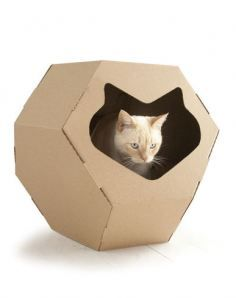 ecological kennel for cats - recycled cardboard. Fabulous.