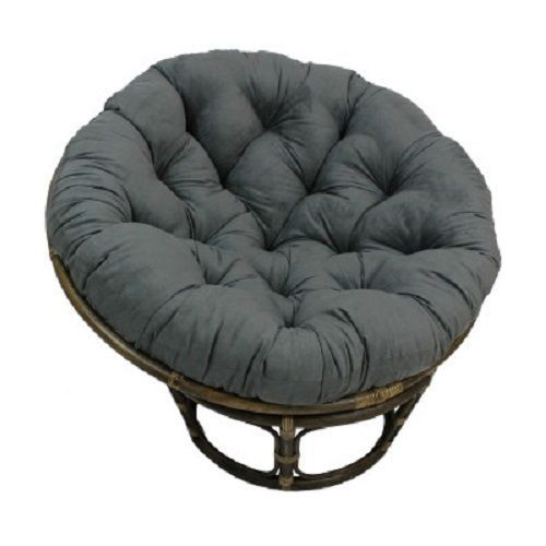 Large Papasan Chair Cushion Tufted Microsuede Rattan Bowl Moon Round Seat  Wicker