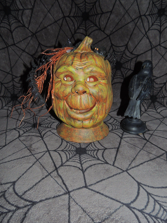 Halloween 2020 Jack O Lantern Head Ceramic Jack O Lantern Pumpkin head Halloween Light Candle   Etsy