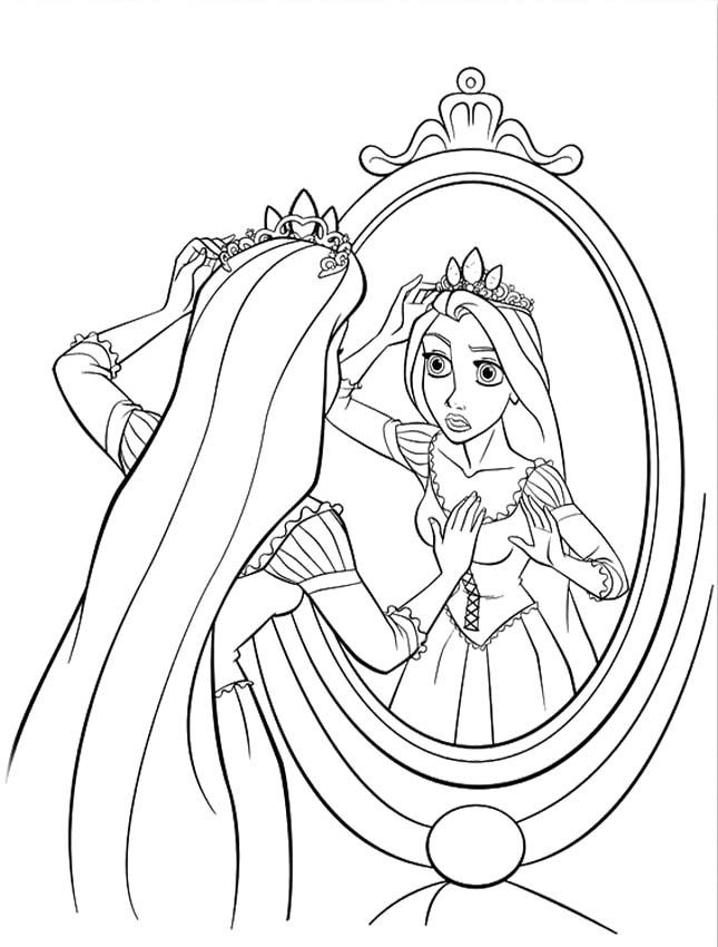 Rapunzel Wears Crown Coloring Pages Tangled Coloring Pages