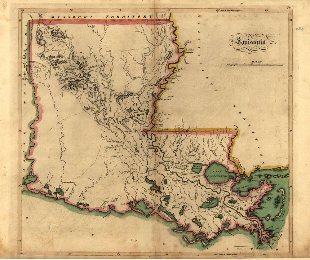 1814 State Map LOUISIANA United States History