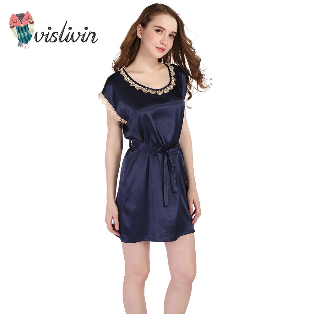 07de4b657c3 Vislivin Women Lace Nightwear Sleep Shirt Summer Style
