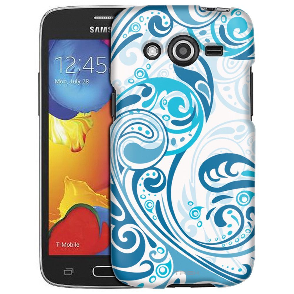 Samsung Galaxy Avant Abstract Swirled Sades of Blue on White Slim Case