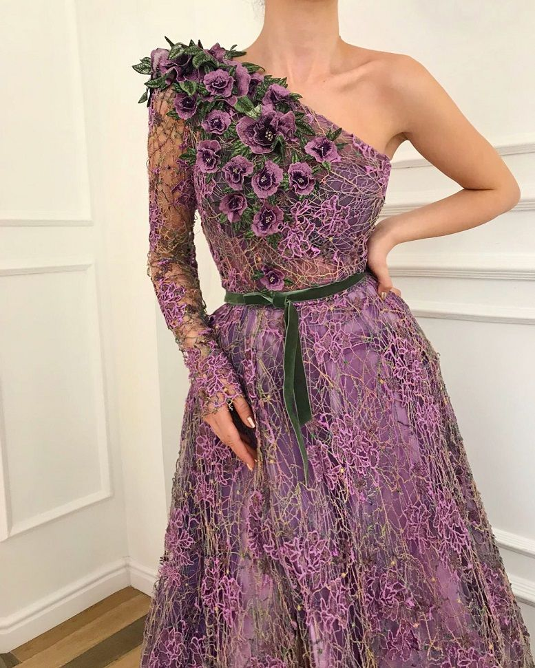 28 Prom Dresses That Will Make You The Prom Queen - One shoulder long sleeves purple dress , Prom dress #promdress #bluedress