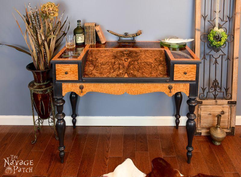 Veneer & Loathing - Using exotic wood veneer and chalk paint, I turn a  vintage yawner of a desk into a sleek stunner in black, blond and brown. - Veneer & Loathing Antique Desk Makeover Using Exotic Wood Veneer
