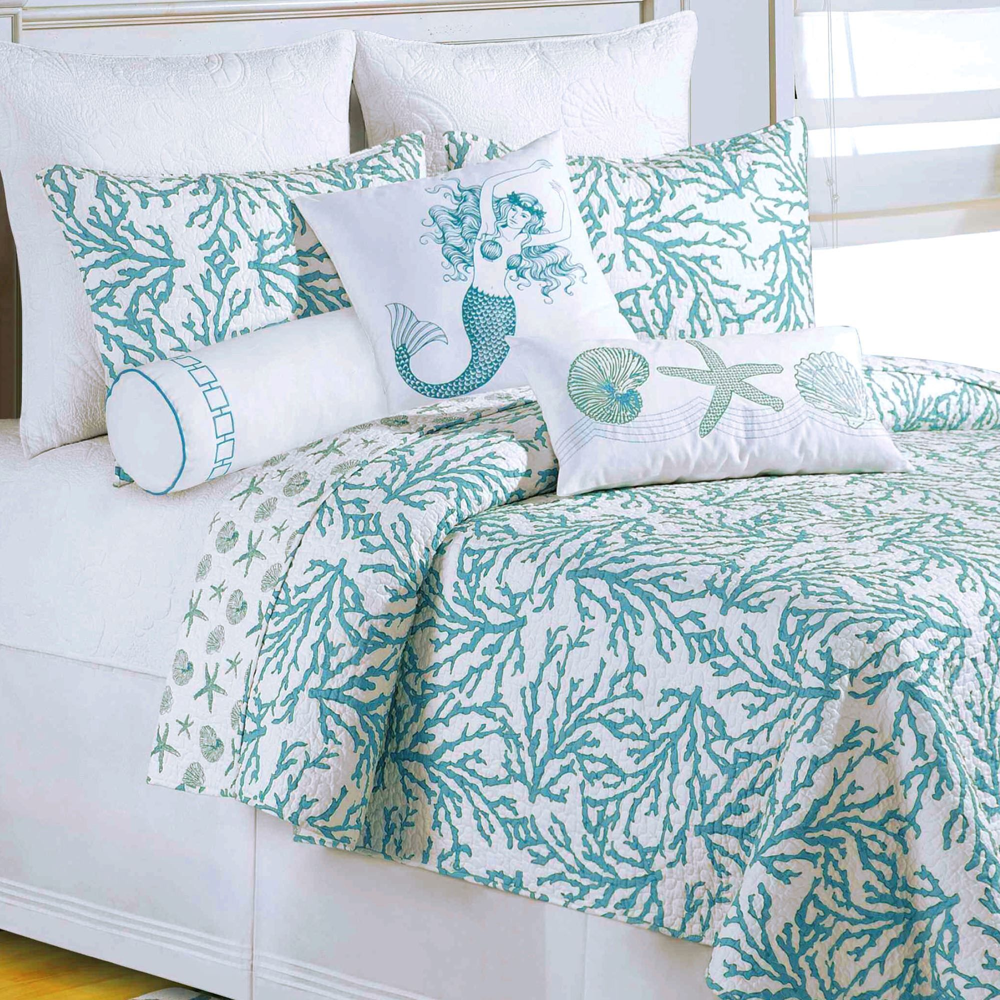 bedding by pdx laura coral wayfair bed turquoise reversible and reviews coast home bath quilt set ashley piece