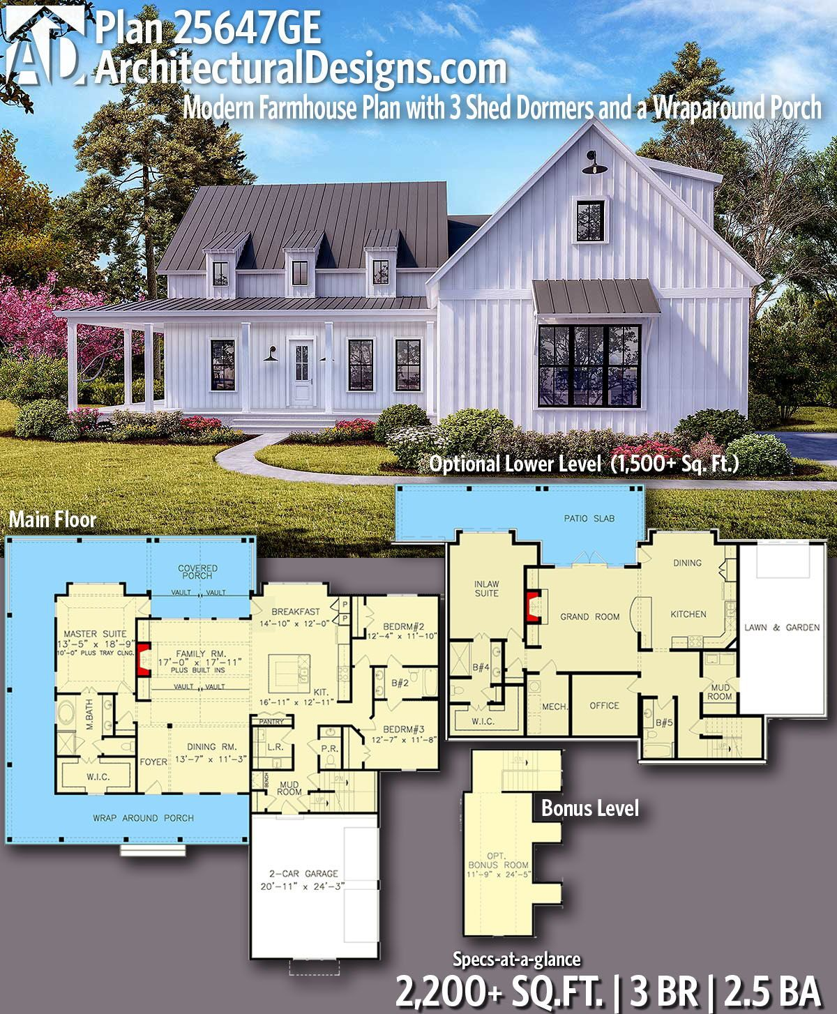 Plan 25647ge Modern Farmhouse Plan With 3 Shed Dormers And A Wraparound Porch Modern Farmhouse Plans House Plans Farmhouse Farmhouse Plans