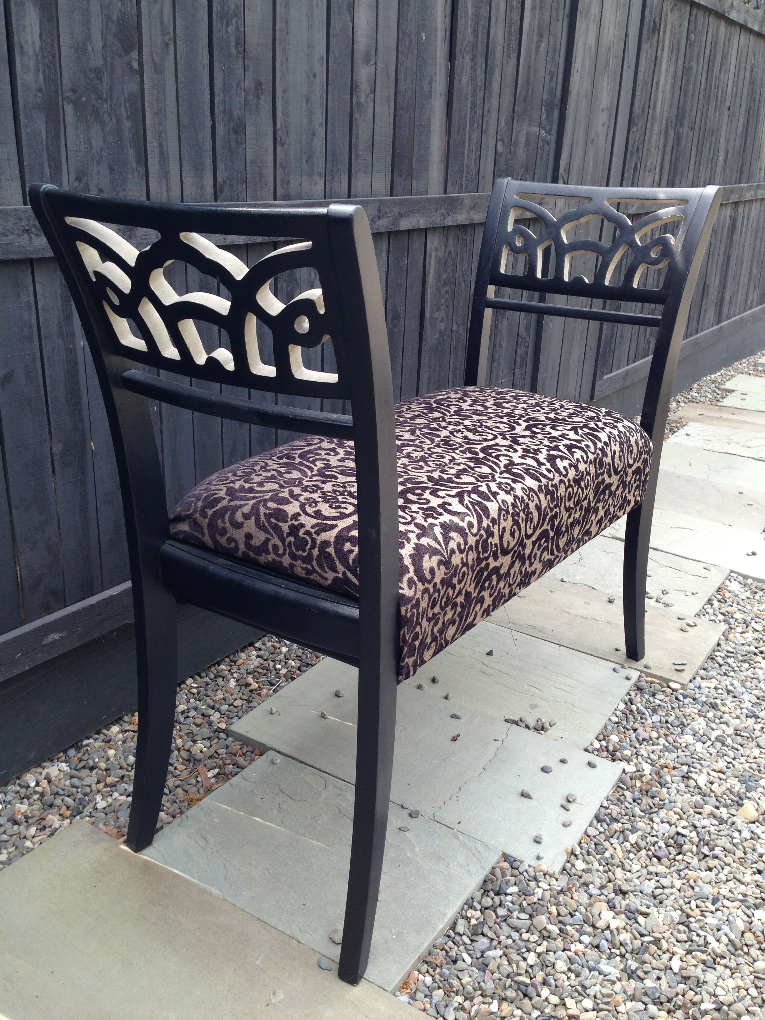 Upcycled Dining Chairs Made Into An Upholstered Bench