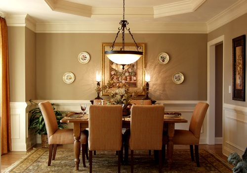 Taupe and apricot DINING ROOM Pleated apricot drapery panels