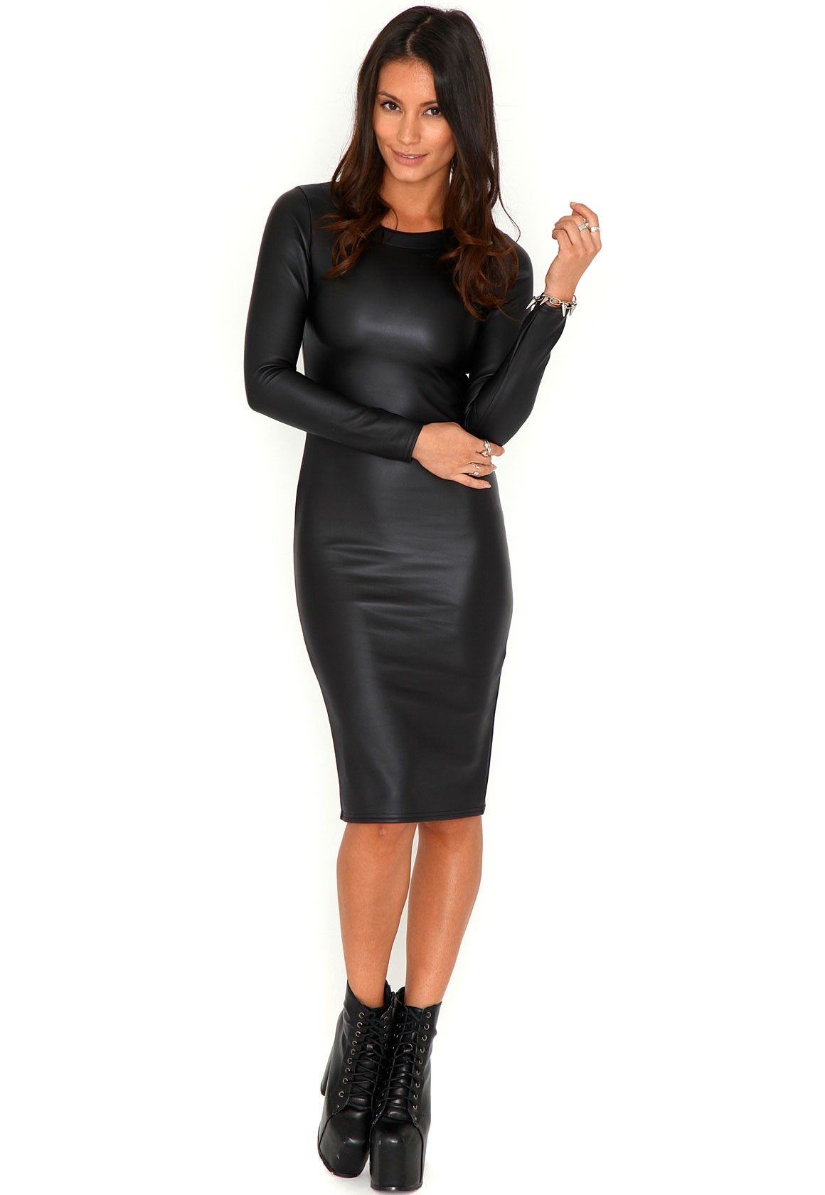 613de80ec601 Glynna Wet Look Long Sleeve Midi Dress