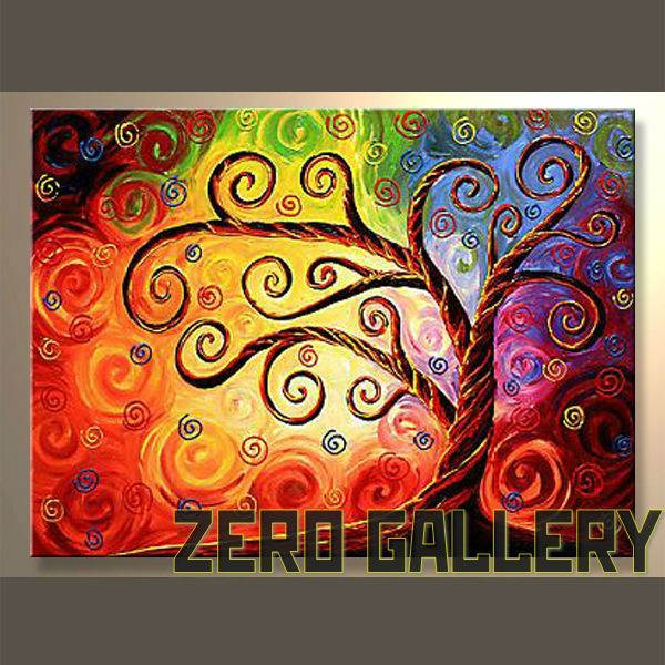 Cheap Wall Abstract Impressionist Floral Tree Of Life Oil Painting
