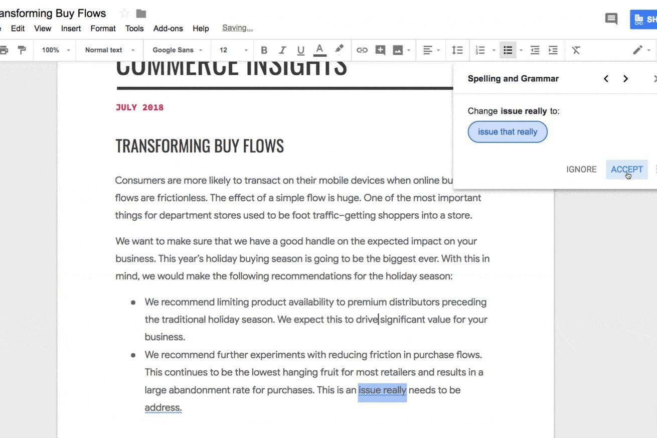 Google Docs gets a grammar checker that relies on machine