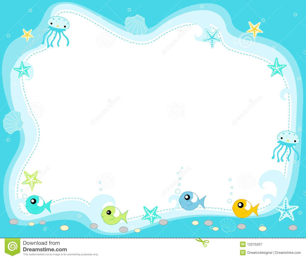 Ocean Life Marine Life Border With Cute Fish Jellyfish ...