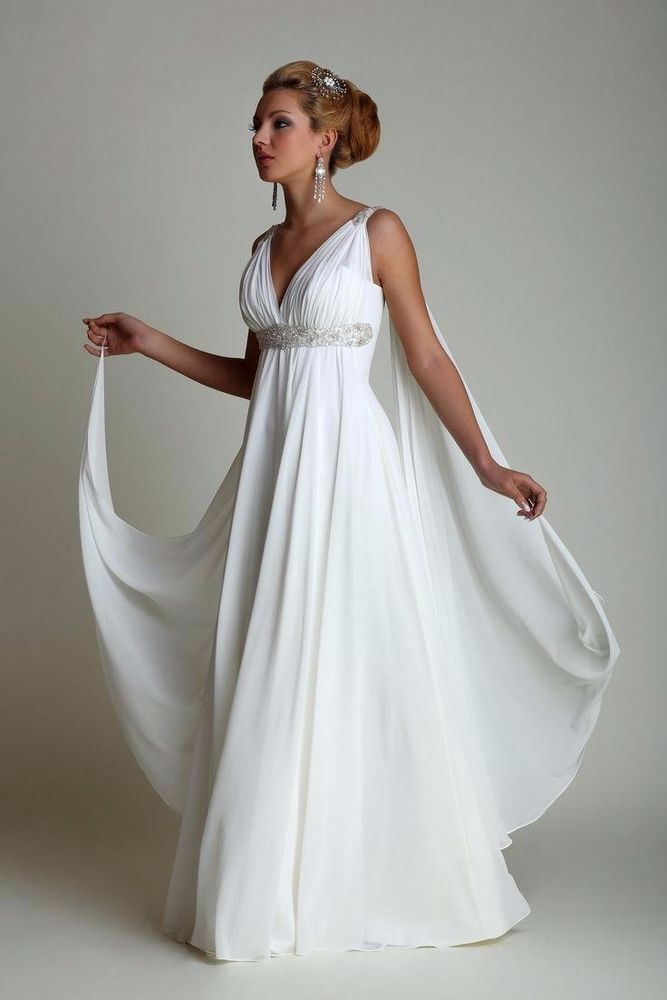 Greek Wedding Dresses Watteau Train V-neck Chiffon Beach Grecian ...