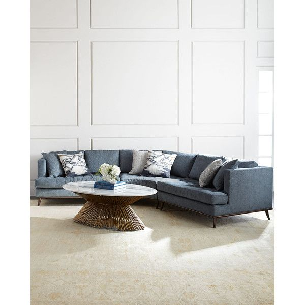 Ambella Capri Curved Sectional Sofa (€10.850) ❤ liked on Polyvore featuring home, furniture, sofas, slate blue, tufted furniture, ambella home furniture, handmade furniture, ambella furniture and handcrafted furniture