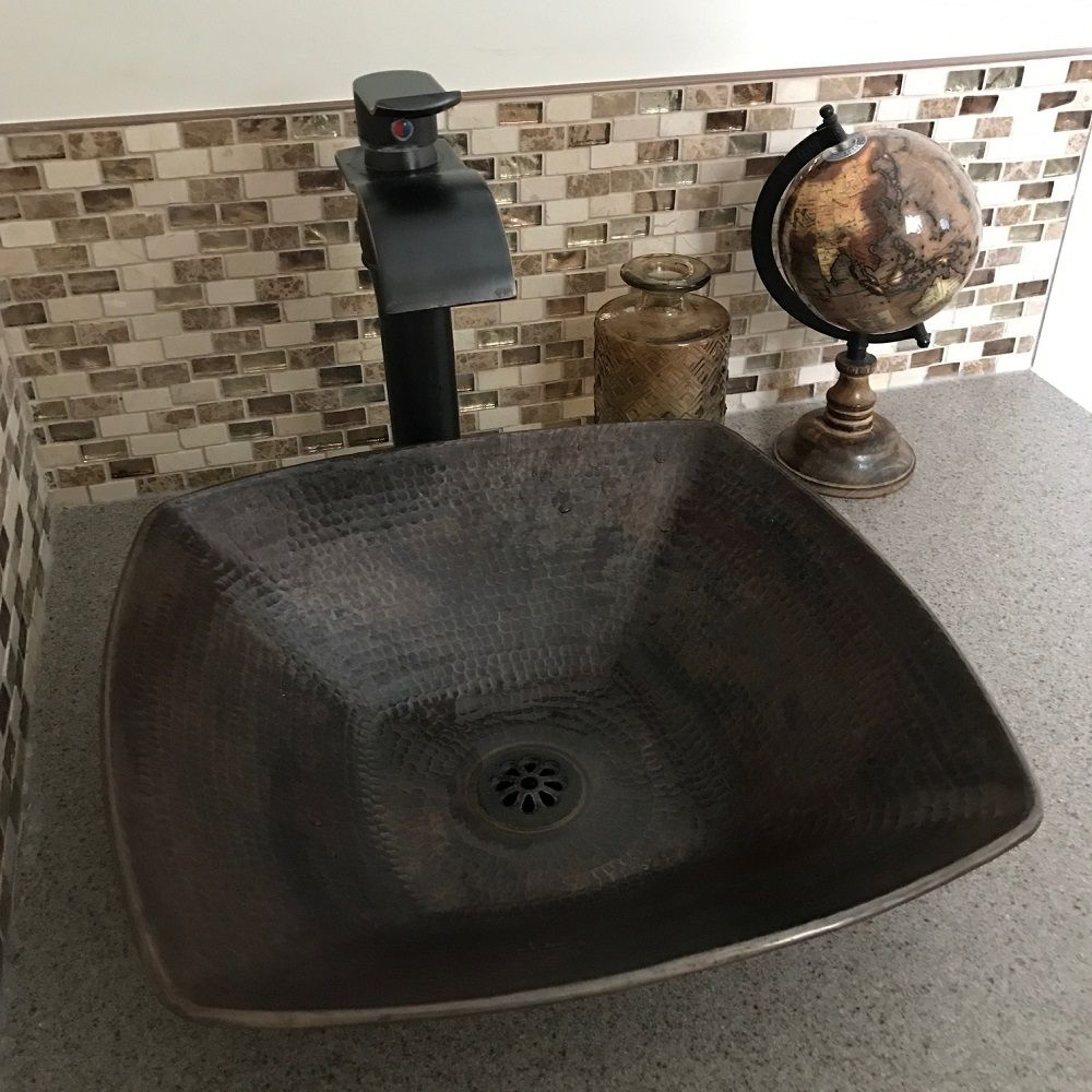 "15"" Square Copper Vessel Bathroom Vanity Countertop Sink ..."