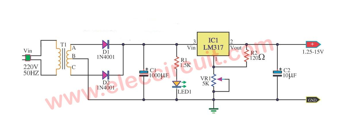 My First Variable Power Supply Using Lm317 Eleccircuit Power Supply Power Variables