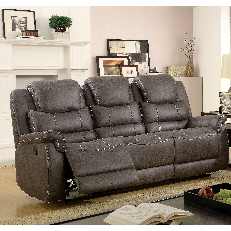 furniture of america twaine transitional grey reclining sofa (grey