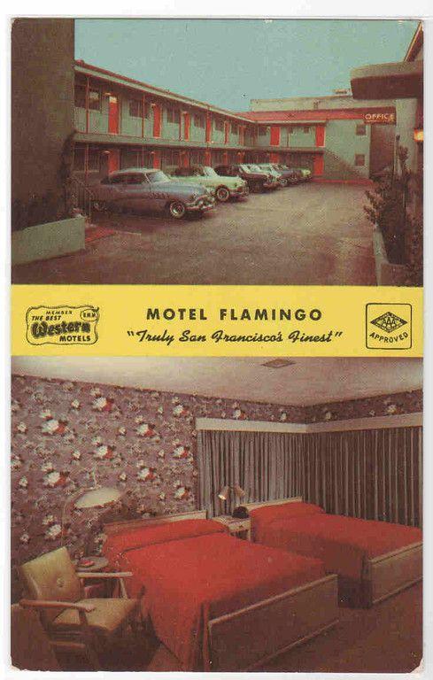 Motel Room Interiors: Motel Flamingo Room Interior 1950s Cars San Francisco Cal