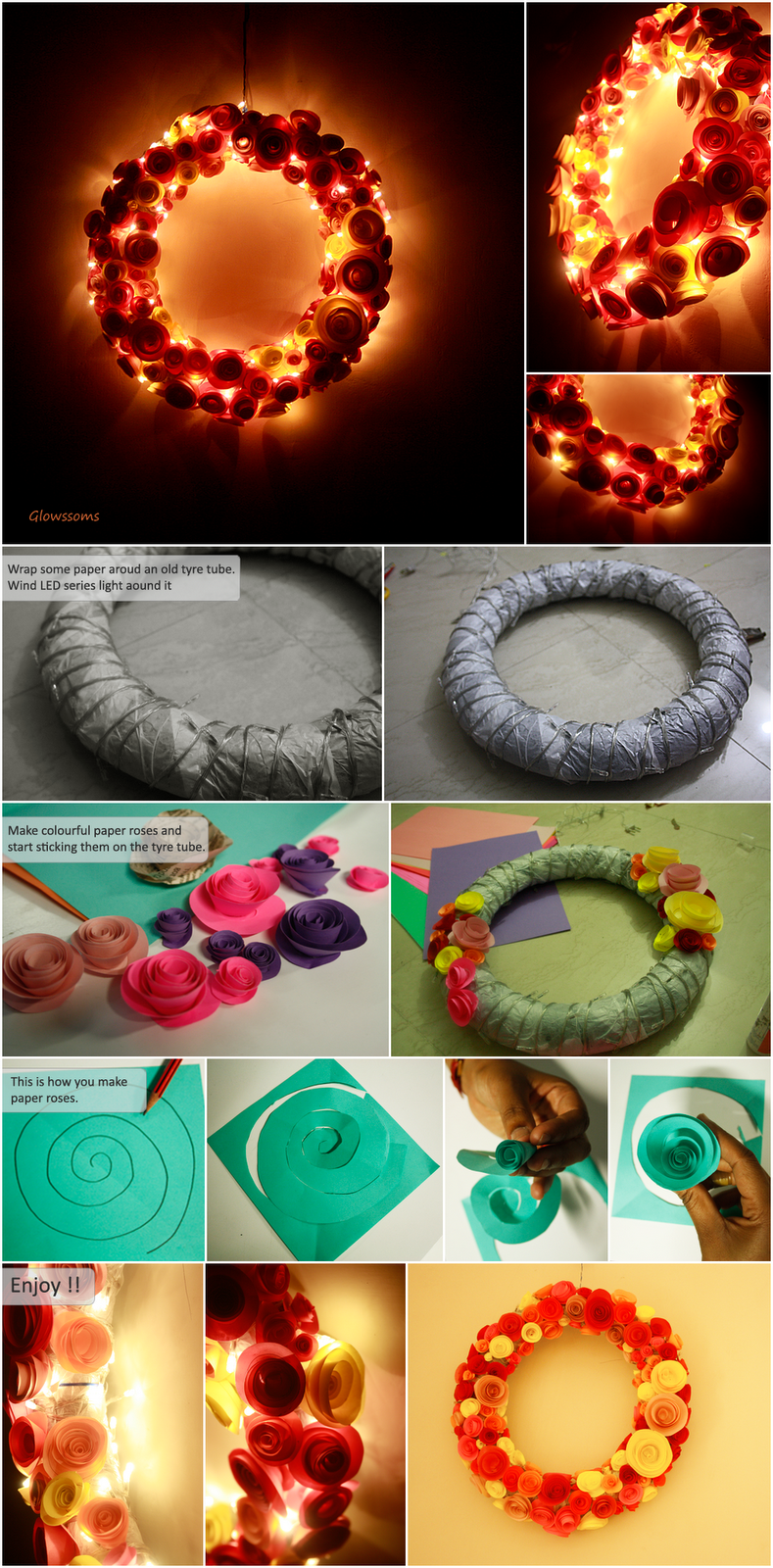 Glowssoms : Flowery Lamp made by using old tyre tube, LED lights and paper roses  #DYI  Crafts# lamps # Lights