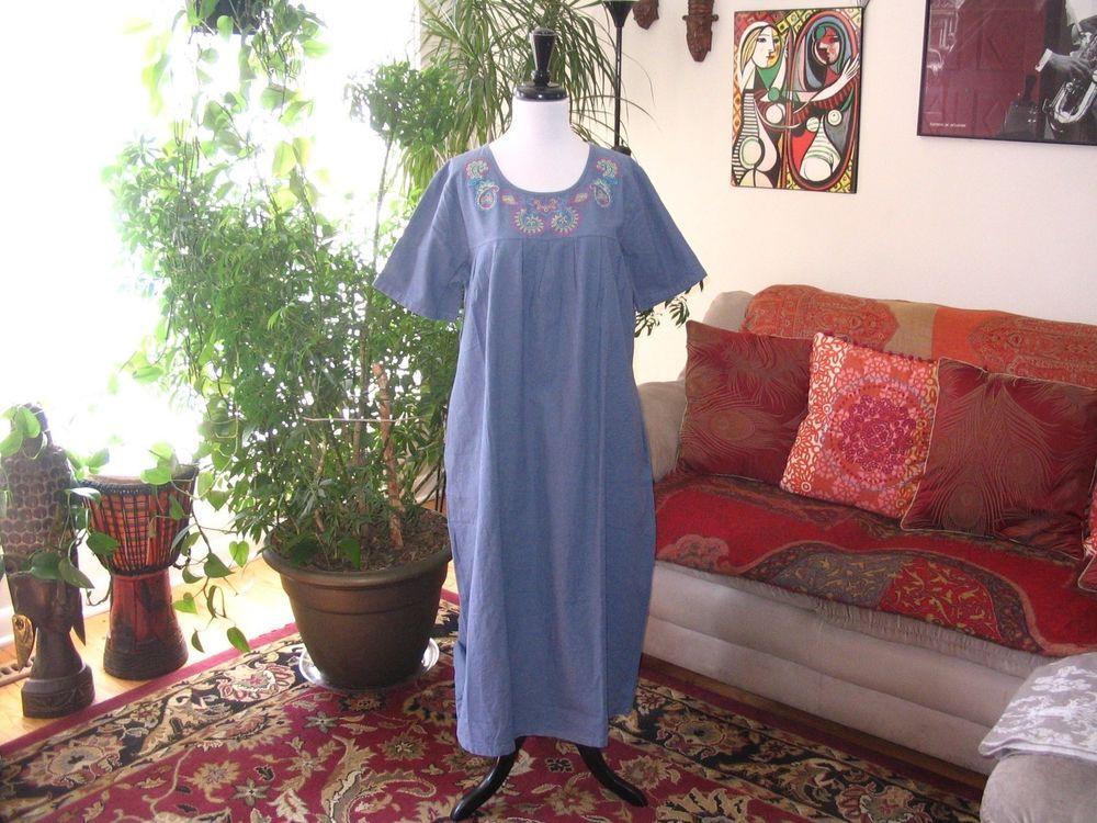 VERMONT COUNTRY STORE sz M Blue Linen & Cotton Muu Muu Patio Dress ...