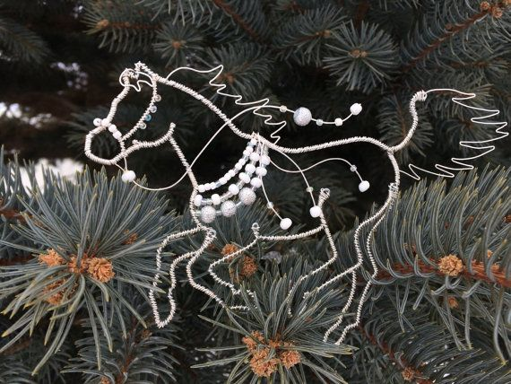 Wire Horse, Beaded Wire Horse Ornament, Silver and White | Draht