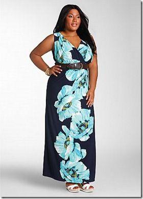 Ashley Stewart plus size floral print blue maxi dress 2012 ...