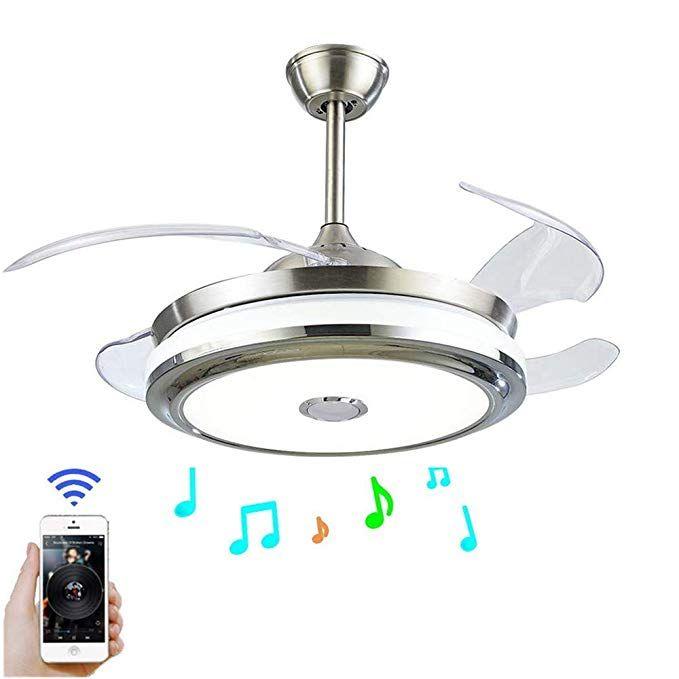 Fandian 42 Modern Ceiling Fans With Light Smart Bluetooth Music Player Chandelier 3 Colors 3 Speeds Invis Ceiling Fan With Light Modern Ceiling Fan Fan Light