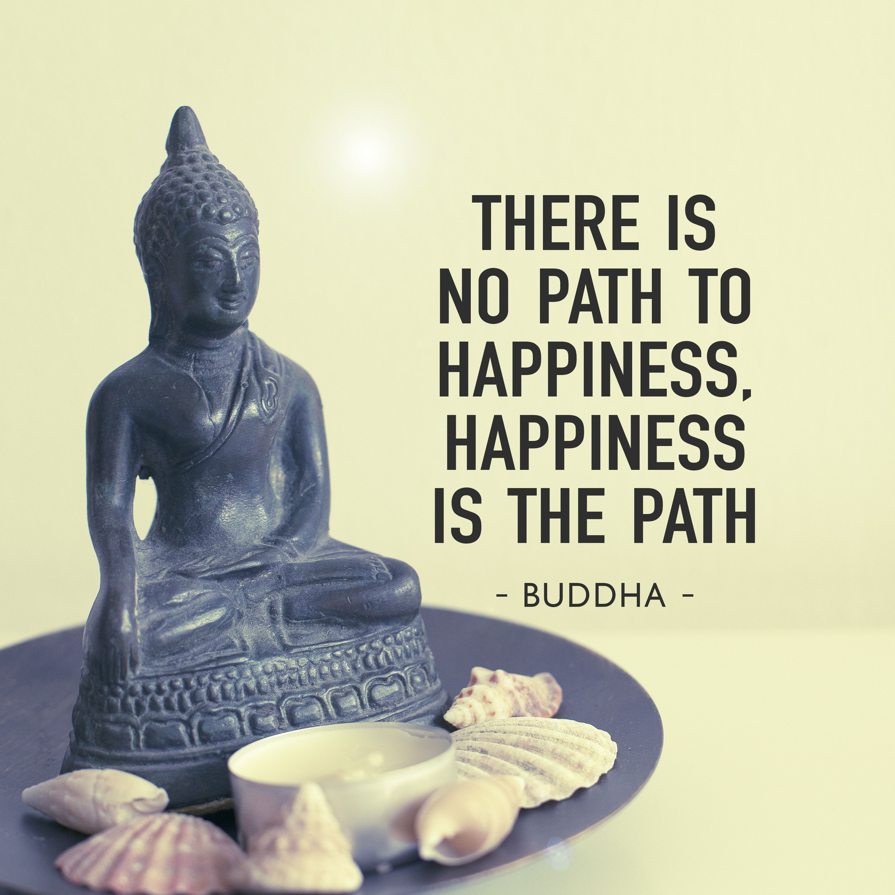 There Is No Path To Happiness happiness Is The Path Budha Quote Orange Art print Happiness Quote Path To Happiness Buddha Print