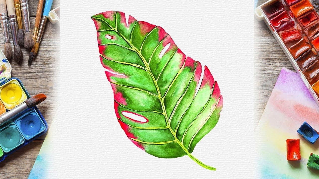 Green And Pink Watercolor Tropical Leaf Painting Easy Botanical