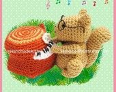 Squirrel playing a Piano Trunk Amigurumi PDF Crochet Pattern by HandmadeKitty