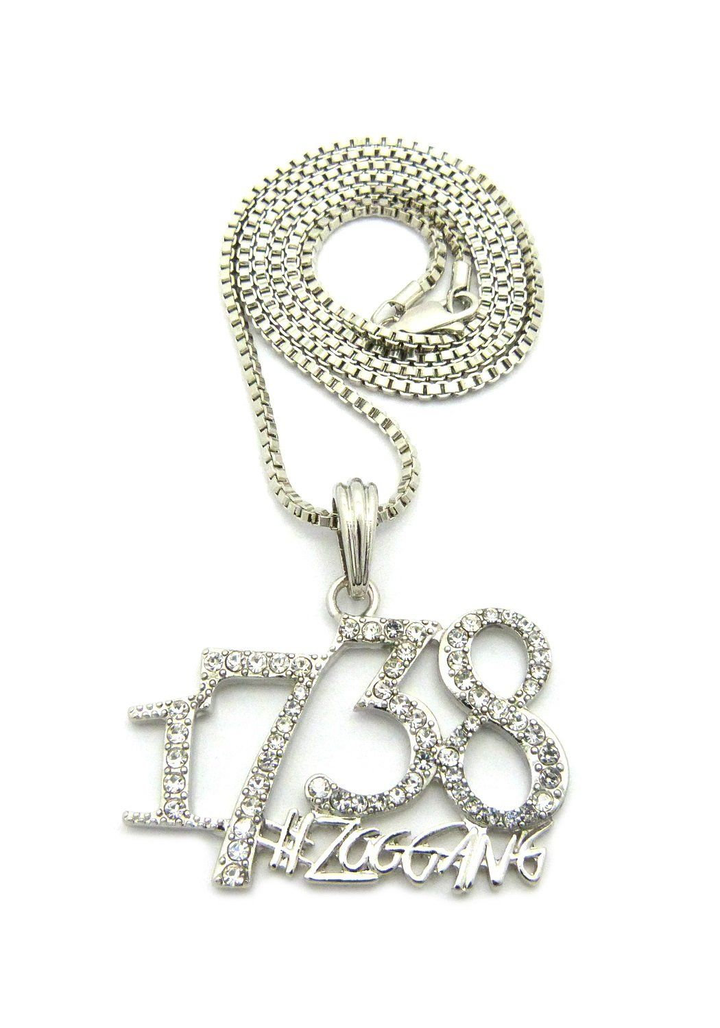 "Hip Hop Pave 1738 ZooGang Pendant 24"" Various Chain Necklace Silver-Tone (3 Chains Available) (2mm 24"" Box Chain ). Hip Hop Pave 1738 ZooGang Pendant 24"" Various Chain Necklace Silver-Tone (3 Chains Available). Size of Pendant: 1.75"" X 1.75"". Chain: 2mm 24"" Box Chain, 4mm 24"" Cuban Chain, 2mm 24"" Franco Chain. Imitation Silver Tone Plated. Fashion Costume Jewelry."