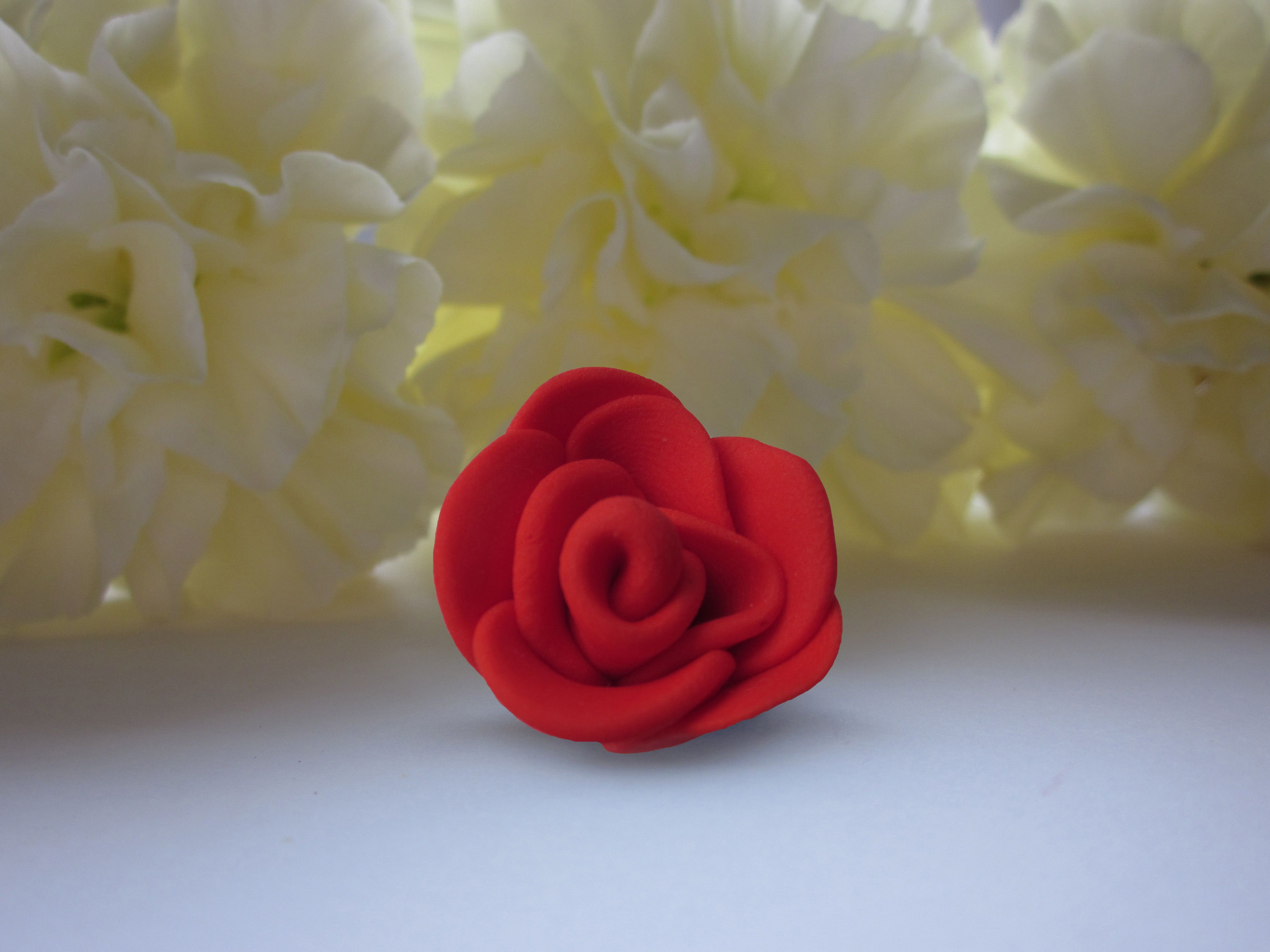 Handmade polymer clay red rose pendant