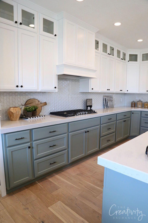 Lower Cabinet Paint Color Is Sherwin Williams Acacia Haze Coastalkitchen In 2020 Home Kitchens Kitchen Cabinets Decor Kitchen Design