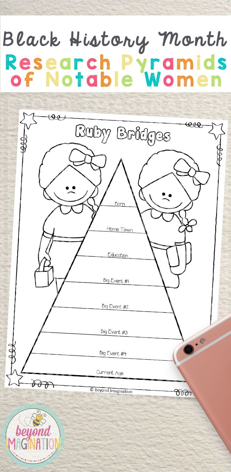 Black History Month Women Research Pyramids | Printable Worksheets