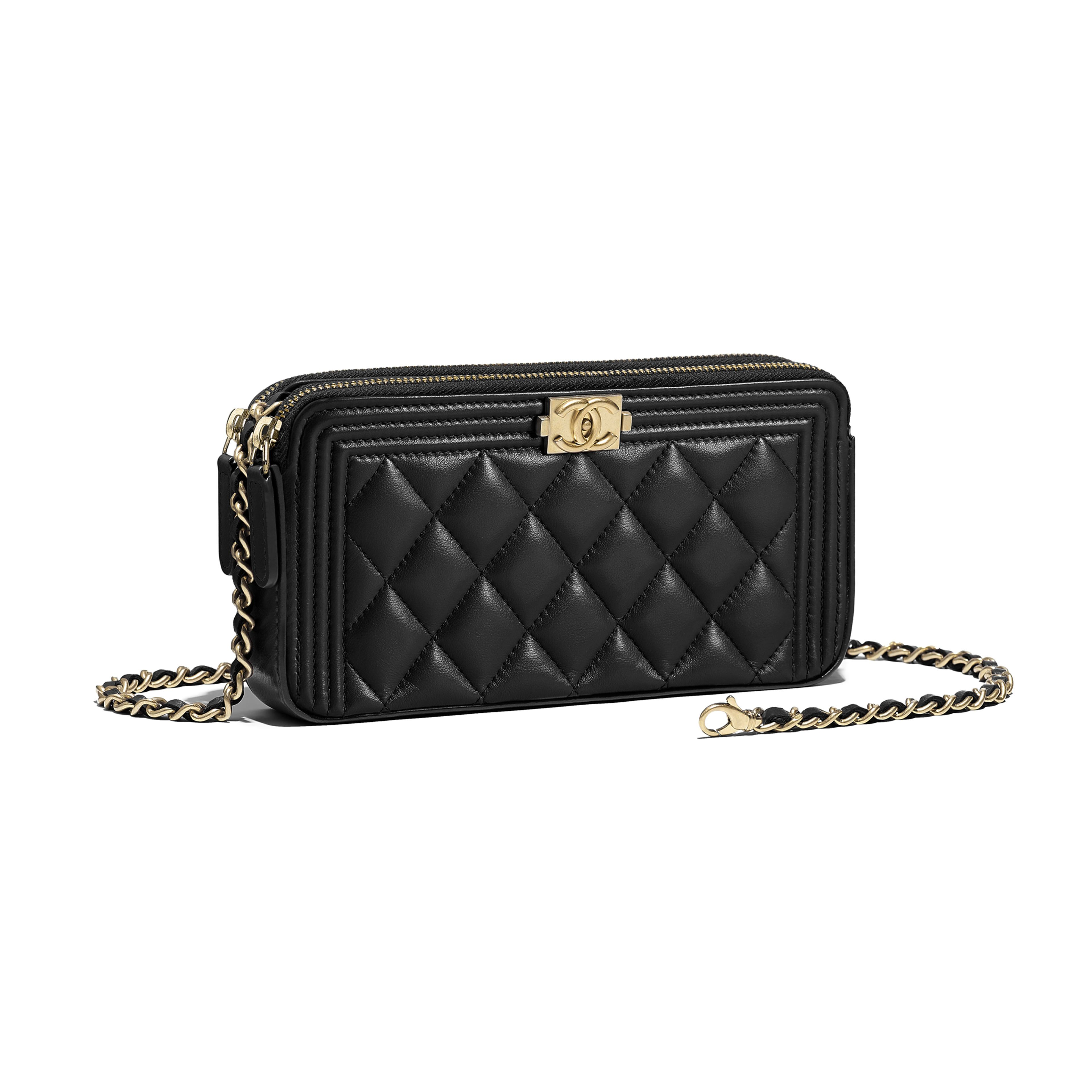 89ec88c024 Lambskin & Gold-Tone Metal Black BOY CHANEL Clutch with Chain in ...