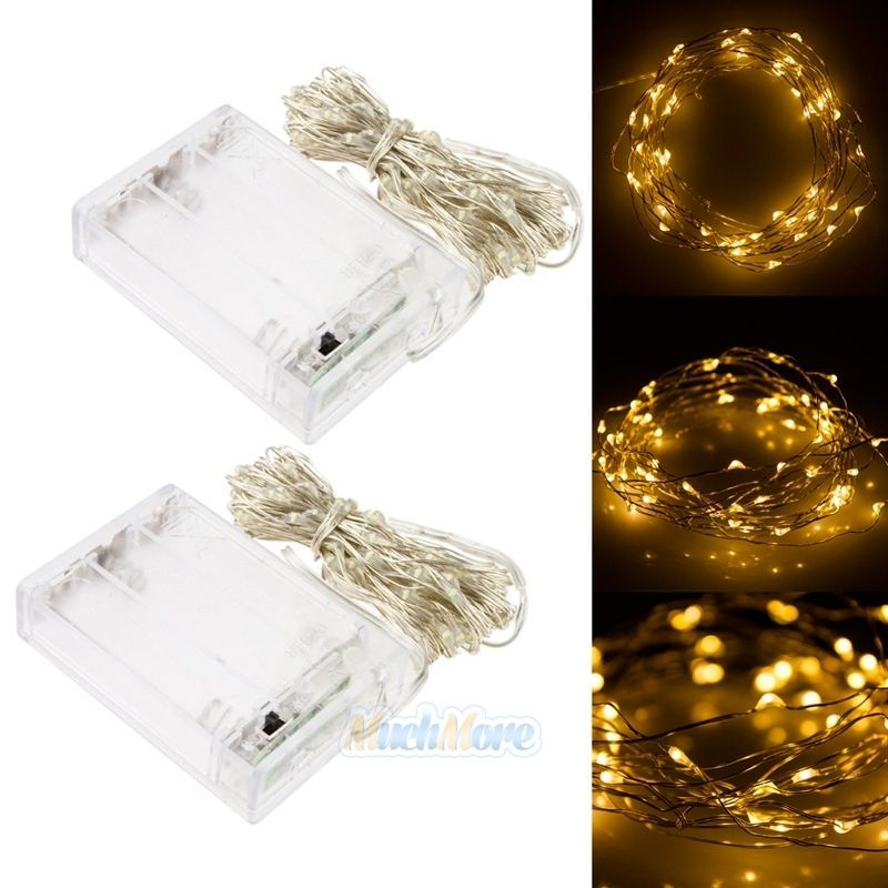 2x 5M Battery Powered Copper Wire 50LEDs Outdoor String Fairy Light