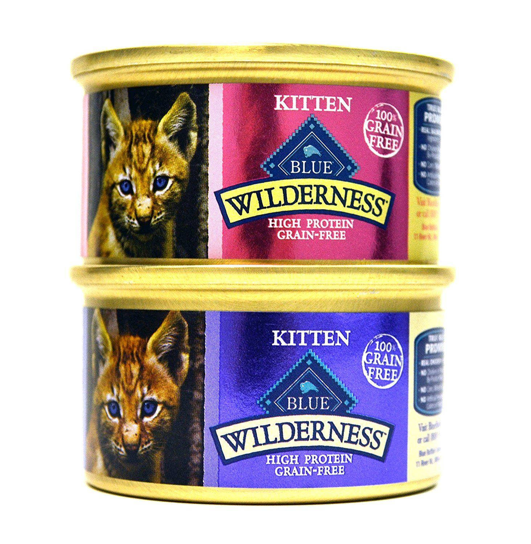 Blue Buffalo Wilderness Grain Free Variety Pack Wet Kitten Food 2 Flavors Salmon And Chicken 12 3 Ounce Cans 6 Kitten Food Wet Cat Food Dry Cat Food