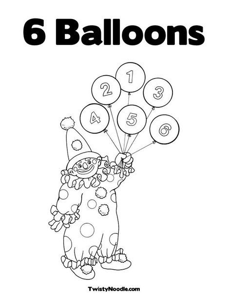 Clown with Number Balloons Coloring Page | My Style | Pinterest ...