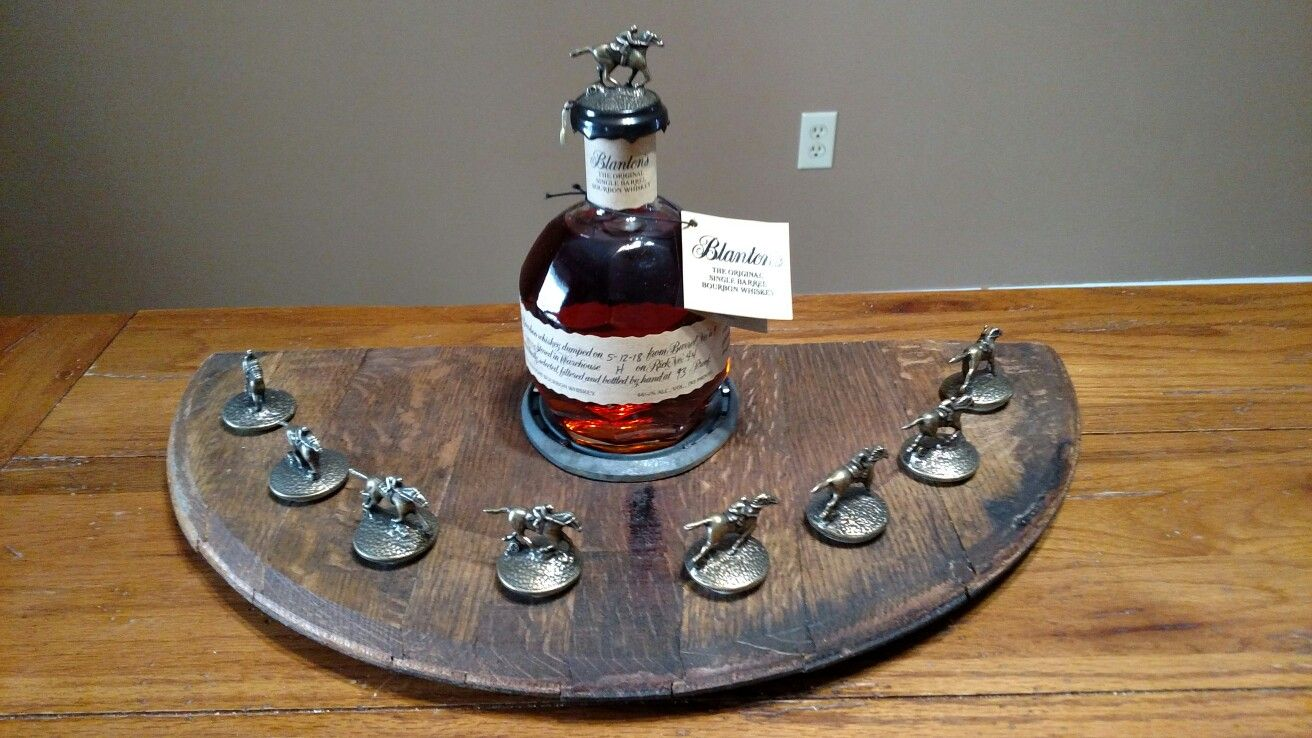 Blanton/'s Bourbon Cork Display Solid Oak Whiskey Blantons