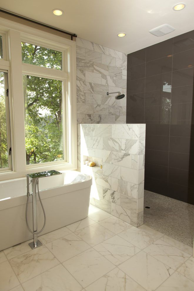 Curbless Doorless Shower Bathroom Contemporary With Wood
