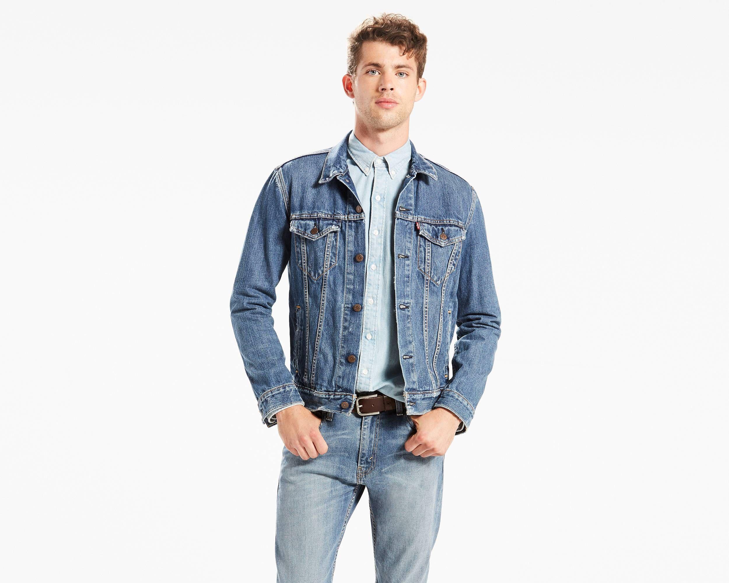 The Shelf Lighter Than Dark Stonewash More Blue Than Med Stonewash Denim Jacket Men Trucker Jacket Men Jackets