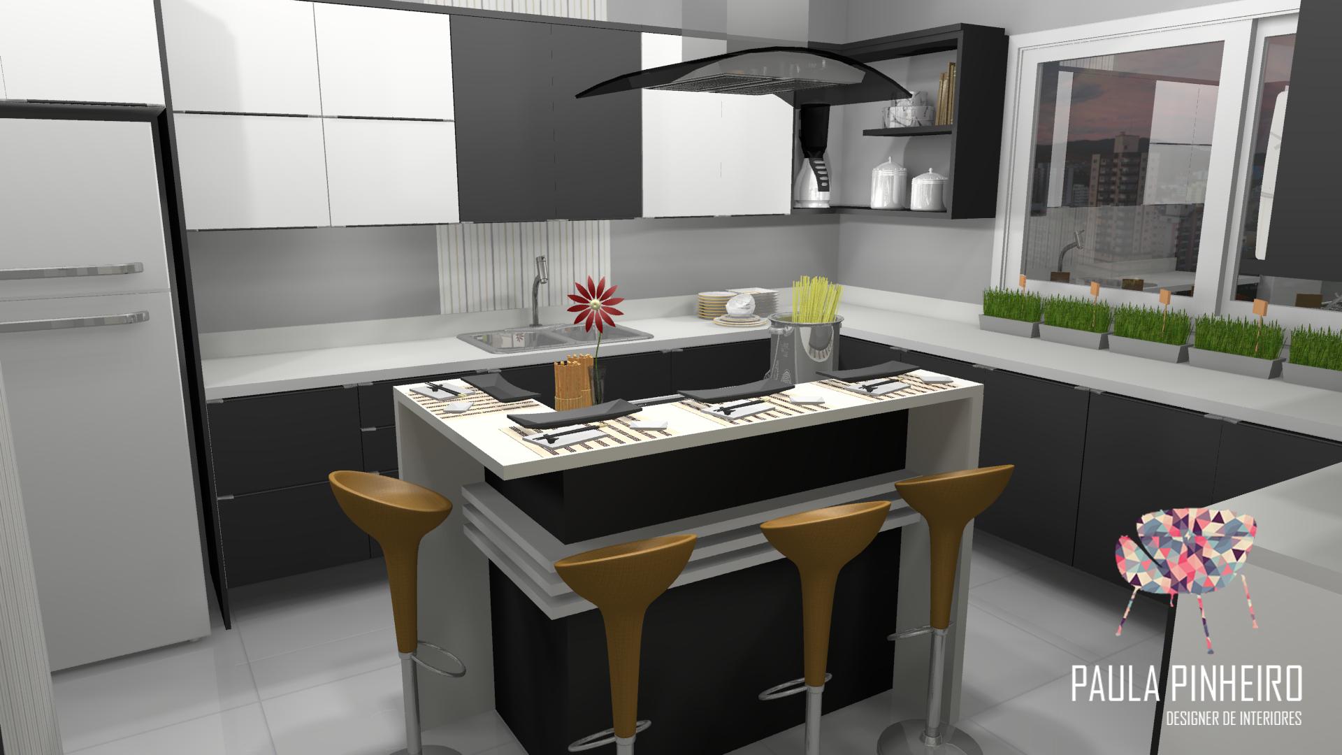 Cozinha Com Ilha Projeto Paula Pinheiro Renderiza O Promob Plus C