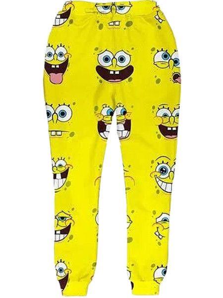 bc66adfd Spongebob Print Joggers – Getonfleek | Joggers | Joggers, Pajama ...