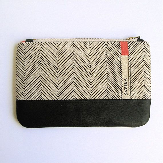 Linen and Leather Clutch - Hand-printed - Chocolate Herringbone - Persimmon Accents