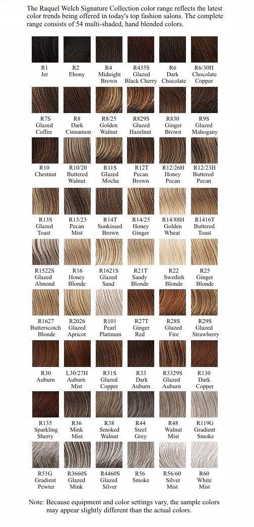Raquel Welch Wig Colour Options