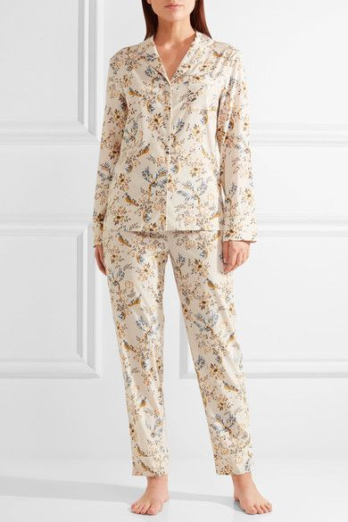b1fcf906741 Stella McCartney - Poppy Snoozing Floral-print Stretch-silk Crepe De Chine  Pajama Set - Cream